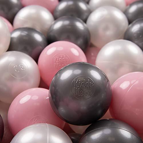 KiddyMoon 200 ∅ 7Cm Kinder Bälle Spielbälle Für Bällebad Baby Plastikbälle Made In EU, Perle/Rosa/Silbern - Bällebad Für Hunde