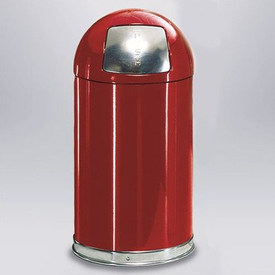 Small Round Top Waste Receptacle [Set of 7] Liner: Galvanized Steel (FM Approved Fire-Safe), Color: Red