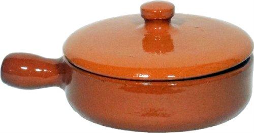 Amazing cookware sb135 - padella con coperchio in terracotta naturale, 15 cm