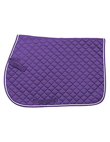 Tough 1 EquiRoyal Square Quilted Cotton Comfort English Saddle Pad, Purple