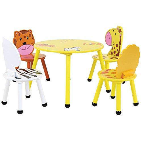Bentley - Set de Muebles Infantiles de Madera - Mesa y 4 sillas - Motivo Safari 2