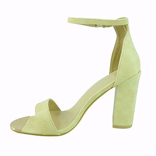 donne con spalline Tacco Largo Alto Sandali con cinturino alla caviglia aperto Scarpe con punta aperta taglia (Beige Lizard Faux Leather)