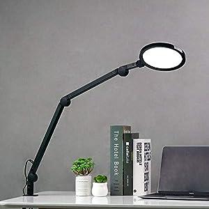 Eyocean LED Schreibtischlampe,Schwenkarm Architektenlampe Arbeitsleuchte,Berührungssteuerung Büro Tischlampe, Stufenloses Dimmen einstellbare Farbtemperaturen,Augenschutz,12W Klemmleuchte,Schwarz