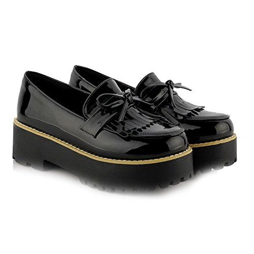 AgooLar Femme Pu Cuir Houppe Tire Rond à Talon Correct Chaussures Légeres Noir