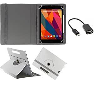 Gadget Decor (TM) PU LEATHER Rotating 360° Flip Case Cover With Stand For Micromax Canvas Tablet P290 + Free OTG Cable -White