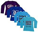 IndiWeaves Girls Cotton Full Sleeve Printed T-Shirt (Pack of 4)_Purple::Blue::Blue::Blue_Size-12-13 Years