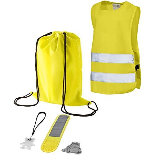 5-teiliges Kindersicherheitsset - Warnweste Kinder - reflektierendes Armband - Aufkleber & Anhänger & Rucksack - für Kinder zwischen 2 und 6 Jahren