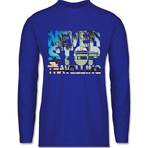 Statement Shirts - Never Stop Travelling Meer Palmen - Longsleeve / langärmeliges T-Shirt für Herren Royalblau