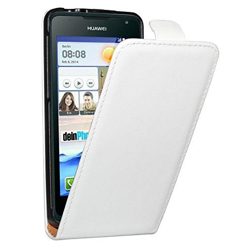 deinPhone Huawei Ascend Y530 beschichtetes Leder Flip Case Hülle Tasche Weiß