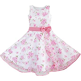 DB75 3 Layers Girls Dress Pink Flower Wave Pageant Wedding Kids Clothing Size 11-12