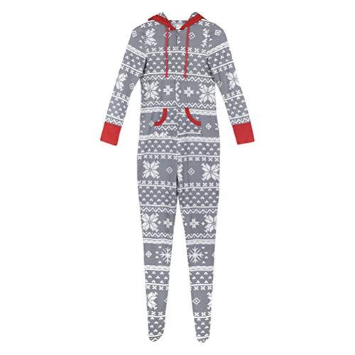 Mo Onesies (Zhhlinyuan Mit Kapuze Weihnachtsfamilien-Pyjamas - Vater Mutter Kinder Lange Ärmel Schneeflocke gedruckt Overall Onesies Outfits)