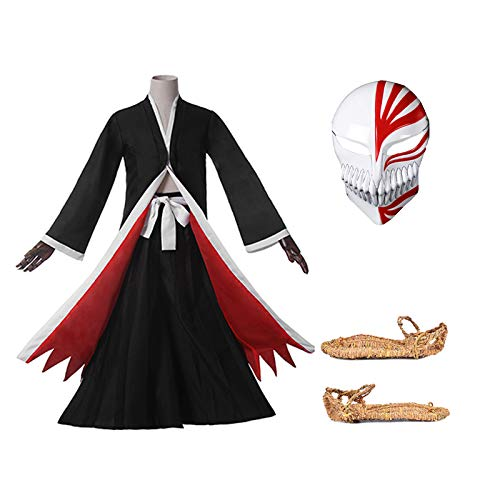 Ichigo Bleach Kostüm - I TRUE ME Bleach Ichigo Bankai Cosplay Kostüm schwarz Kampfanzug / 3 Sätze. (Lieferumfang: Top + Hose + Maske),L