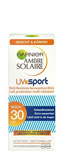 Garnier Ambre Solaire UV Sport Multi-Resistente Sonnenschutz-Milch, mit LSF 30, ideal für Sportler, schweißresistent, extra wasserfest, 50 ml