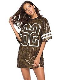 8c8a6922aa0a8 Kaimus Lentejuela Camisa Camiseta para Mujer Camisa Larga Mini Vestido  Camisa Suelta Blusa Tops 1