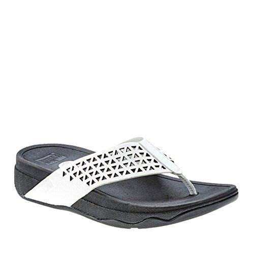 FitFlop Leather Lattice Surfa, Sandales femme Urban - blanc