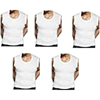 GMR Men's Cotton Vest White Sleeveless Pack of 5 (90 cm)