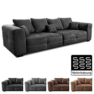 Cavadore Big Sofa Mavericco / XXL Couch im modernen Design  / Inklusive Rückenkissen und Zierkissen / 287 x 69 x 108 cm (BxHxT) / Mikrofaser Schwarz