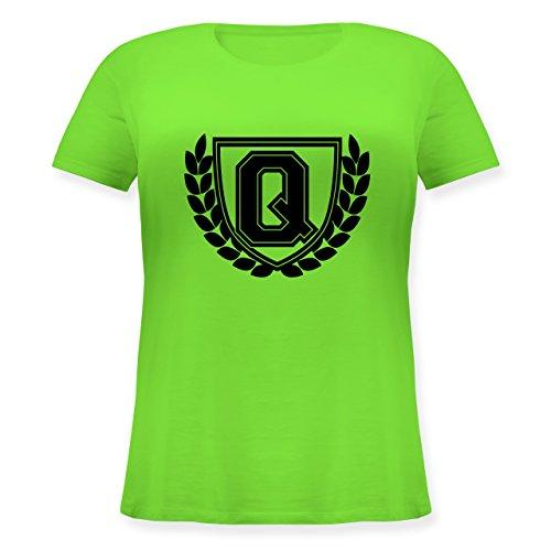 Anfangsbuchstaben - Q Collegestyle - Lockeres Damen-Shirt in großen Größen mit Rundhalsausschnitt Hellgrün
