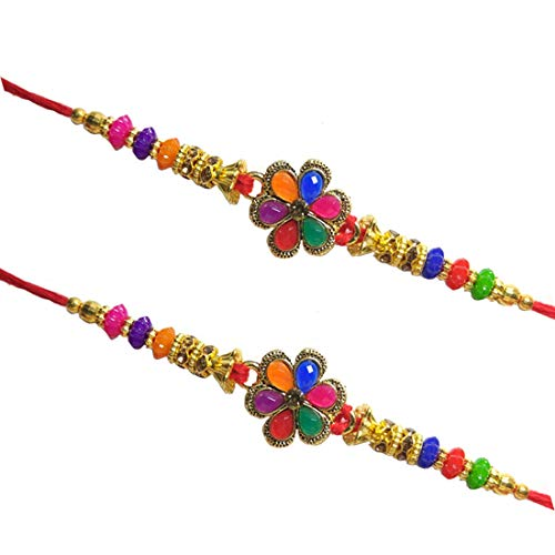 Set of Two Red Stone Designer Rakhi for Brother