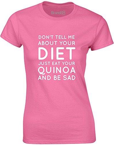 Brand88 - Quinoa, Gedruckt Frauen T-Shirt Azalee/Weiß