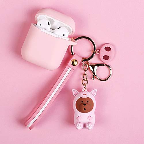 guantongda Stabile Schutzhülle für Air Pods Cartoon Schlüsselanhänger Silikon für Apple AirPods Schweinchen Naked Bear pink Pig(Wristband) pink (Merchandise Pig)