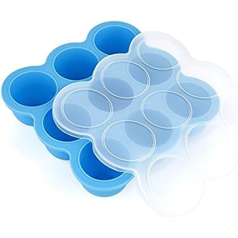 GVDV Recipiente de silicona 9 porciones Almacenamiento para Alimento para beb¨¦ Molde del hielo Horno de molde, Azul