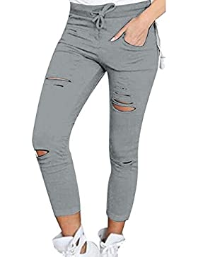 Pantalones Verano Mujer Elástica Slim Fit Ripped Pantalones Pantalones Lápiz Elegantes Fashion Color Sólido Cintura...