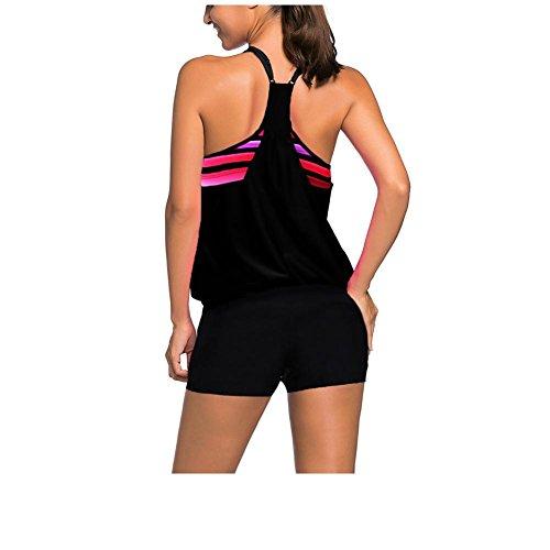 Erica Frauen-Strand-Bikini-Top-Badeanzug-Rundhals-Sleeveless drahtloser gepolsterter Büstenhalter Polyester-Schwarzes Black