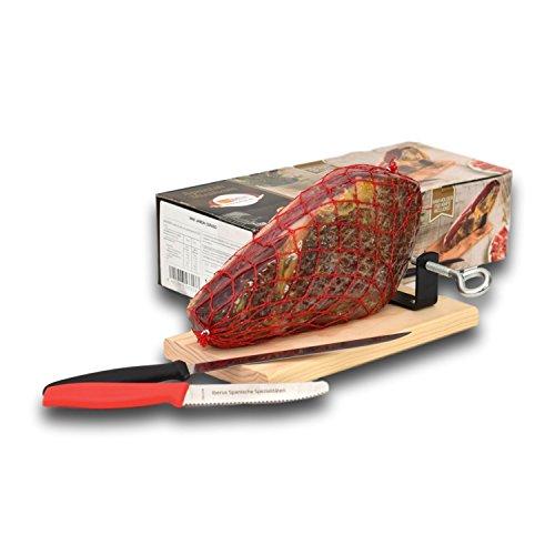 Spanischer Serrano Schinken mit Bock, Messer und Brotmesser 1 Kg. - Mini Jamón Serrano - IBERUS