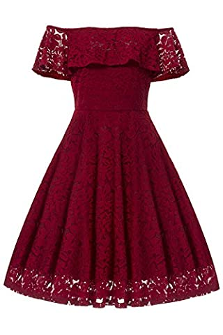 Gigileer Women's Floral Lace A Line Off Shoulder Short Sleeve Cocktail Party Swing Dress Red XL