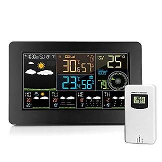 Estación de Pronóstico Meteorológico Inalámbrico Wifi, con Reloj Despertador Meteorológico Digital a Color, para Sensor de Temperatura Interior y Exterior, Monitor de Humedad(Con el Manuel Español)