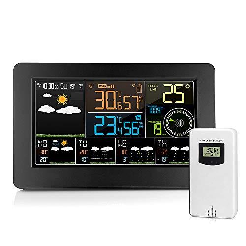 Estación de Pronóstico Meteorológico Inalámbrico Wifi, con Reloj Despertador Meteorológico Digital...