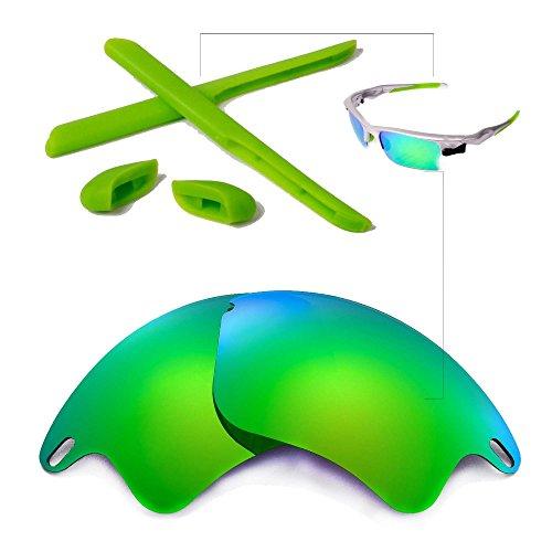 Walleva Polarisierte Linsen und Gummi-Kit (Earsocks + Nasenpolster) für Oakley Fast Jacket XL Sonnenbrille - Mehrfache Optionen (Emerald Mirror Coated Polarisierte Linsen + Grüner Gummi)