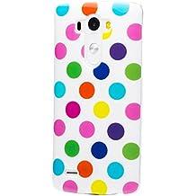LG G3 | iCues lunares TPU blanco / color | Señoras de las mujeres de las muchachas de gel de silicona adorno del modelo de piel protectora de protección [protector de pantalla, incluyendo] Cubierta Cubierta Funda Carcasa Bolsa Cover Case