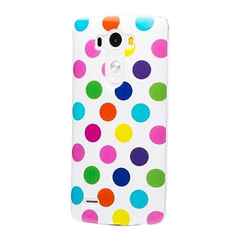 iCues LG G3 | Polka Dots TPU Case Weiss / Bunt | [Display Schutzfolie Inklusive] Damen Frauen Mädchen Silikon Gel Motiv Muster Schutzhülle Hülle Cover Schutz