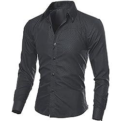Cebbay Liquidación Camisa Hombre Manga Larga a Cuadros Botón Bolsillo Casual Delgado Casual de Negocios(Negro, XX-Large)