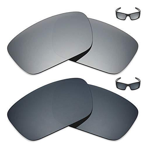 MRY 2Paar Polarisierte Ersatz Linsen für Oakley Fuel Cell Sonnenbrille-Reichhaltige Option Farben, Silver Titanium & Black Iridium