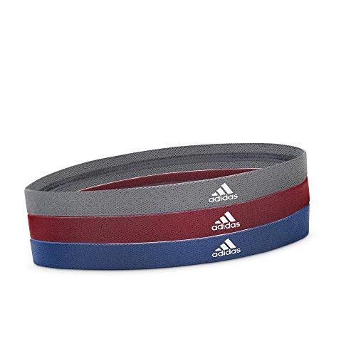 adidas Damen Sports Hair Bands - Metallic Grey, Blue, Burgundy Haarbänder Einheitsgröße