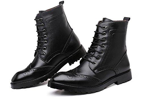 WZG I nuovi stivali Martin Bullock scolpiti in pelle di alta cima scarpe stivali Europa e in America marea sottolineato stivali , black , 40