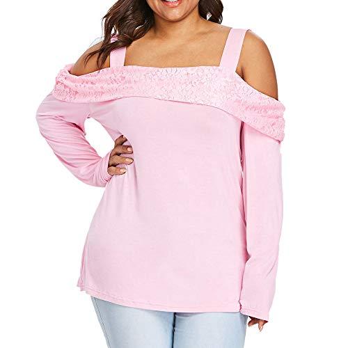 Jaminy Damen Bluse Sexy Süßes Off Shoulder Rüsche Oberteile Tops Casual Oversized Tops Herbst Pullover Lose Jumper XL-5XL (Rosa, 5XL)
