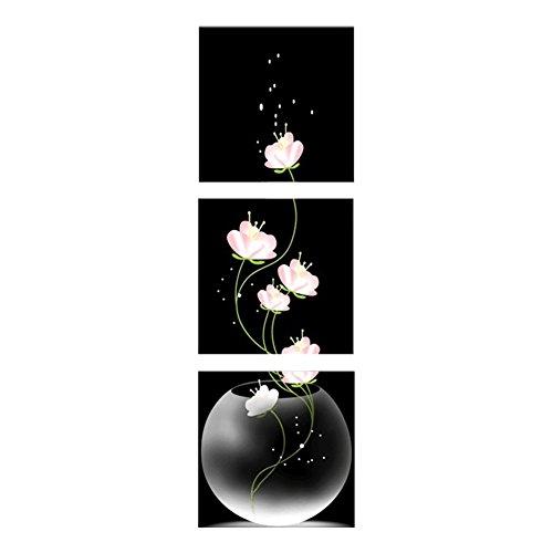 ZHOUBA 3-ungerahmt Vase mit Blume Bild auf Leinwand, Bilder, Wand-Heimdekoration, Muti, 30*30cm