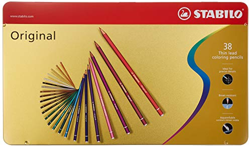 Premium-Buntstift - STABILO Original - 38er Metalletui - mit 38 verschiedenen Farben