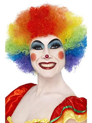Luxuspiraten - Kostüm Accessoires Zubehör Krause Herren Damen Locken Perücke Crazy Clown im Regenbogen Stil, perfekt für Karneval, Fasching und Fastnacht, Mehrfarbig