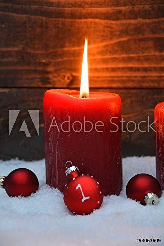 druck-shop24 Wunschmotiv: Adventskerzen mit Zahlen #93063609 - Bild auf Alu-Dibond - 3:2-60 x 40 cm / 40 x 60 cm