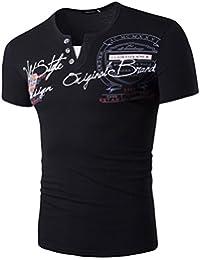 EOZY T-Shirt Polo Col v Boutonné Print Homme Débardeur Slim Été Casual