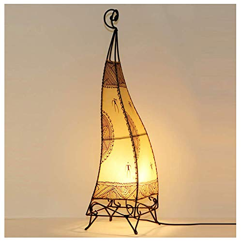 Orientalische Hennalampe marokkanische Stehlampe Ibis H76 cm groß weiss Metall & Leder | Kunsthandwerk aus Marrakesch | Handbemalte Lederlampe handgefertigte Hennaleuchte aus echtem Leder | L1028