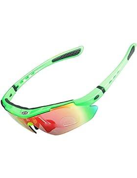 iisport Polarizado Protección UV400 Deportes Gafas de Sol Ciclismo Envuelva con 5 lentes Intercambiables Unbreakable...
