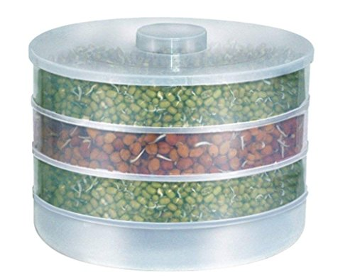 JD Plastic Hygienic Sprout Maker Box with 4 Container (White)
