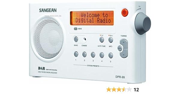 Sangean Dpr 99 Tragbares Dab Digitalradio Ukw Tuner Batterie Netzbetrieb Uhr Weiß Audio Hifi