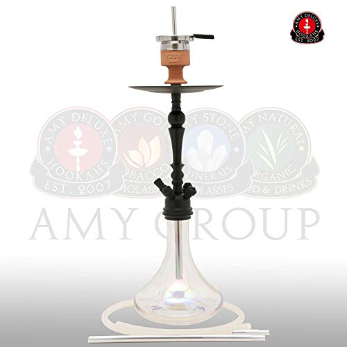 AMY Deluxe 057R GLOBE R Wasserpfeife Shisha (Mattschwarz-Transparent)